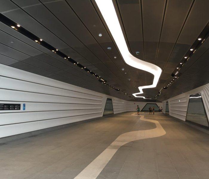 Wynyard to Barangaroo walkway tunnel: Custom perforated metal panels