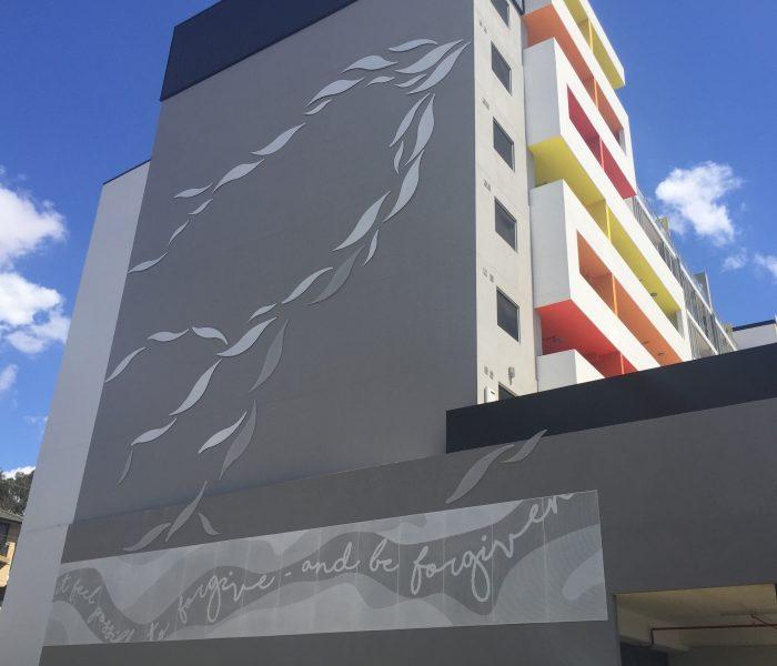Cowper Street, Granville: Perforated metal artwork