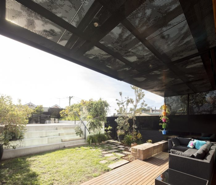 CUSTOM PERFORATED METAL STAIRS AND PRIVACY SCREENING: RESIDENTIAL HOME, BALMAIN