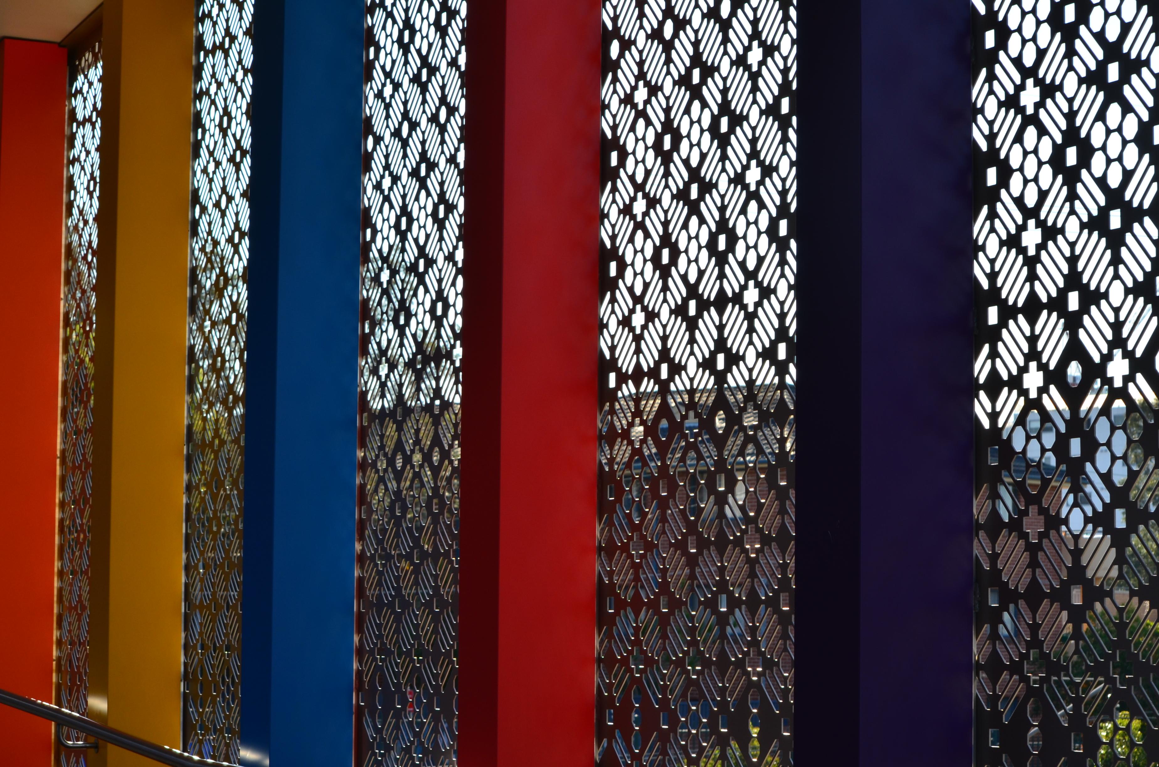 Bespoke perforated metal design -Harris Park Stationrk Station