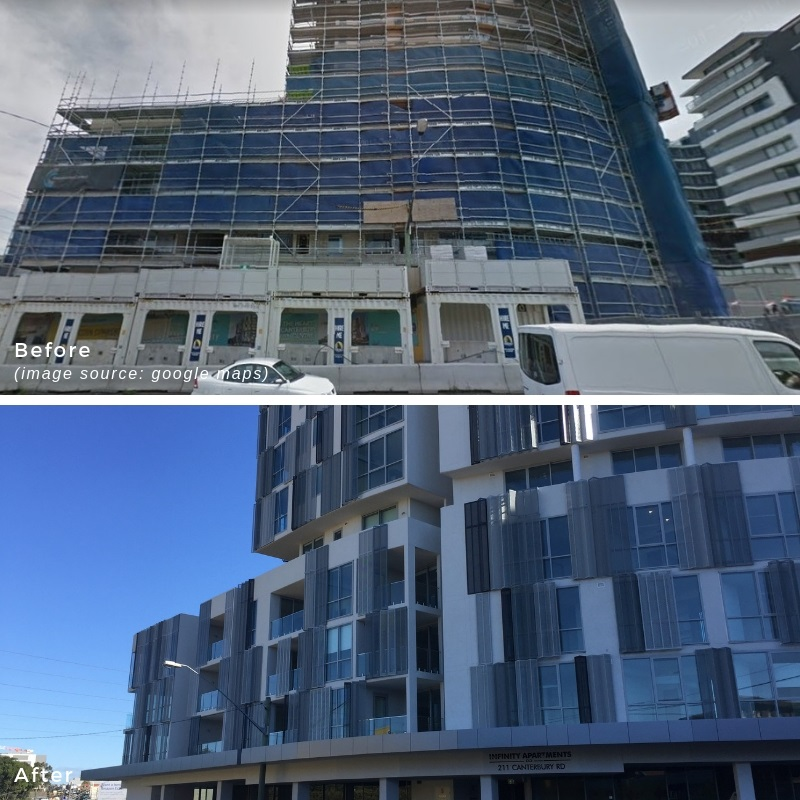 Perforated metal skin - before and after projects
