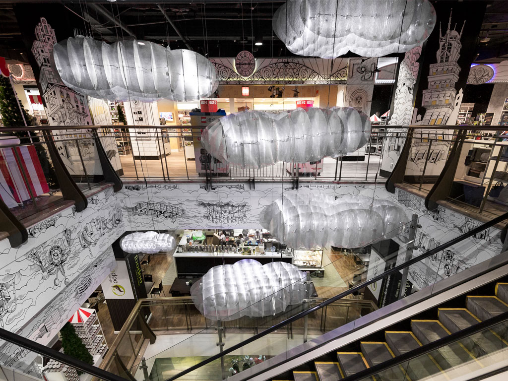 Perforated metal for events - Christmas wonderland in Myer Sydney