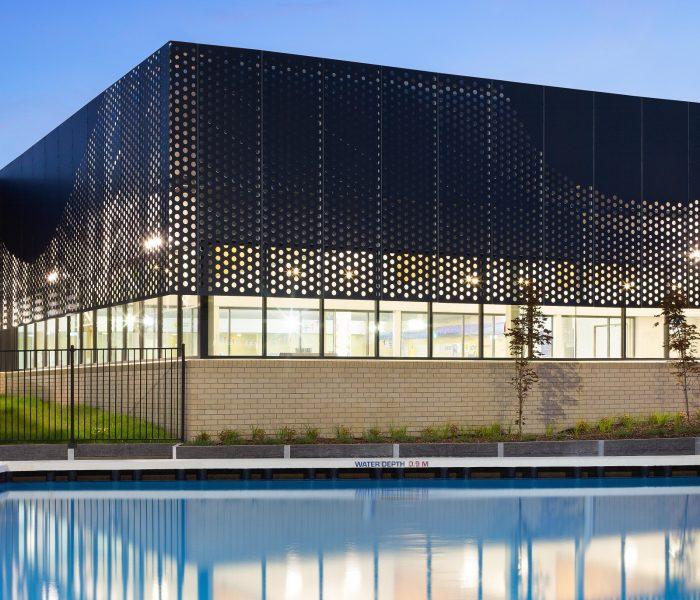 Perforated sheet metal facade, Sunbury Aquatic Centre
