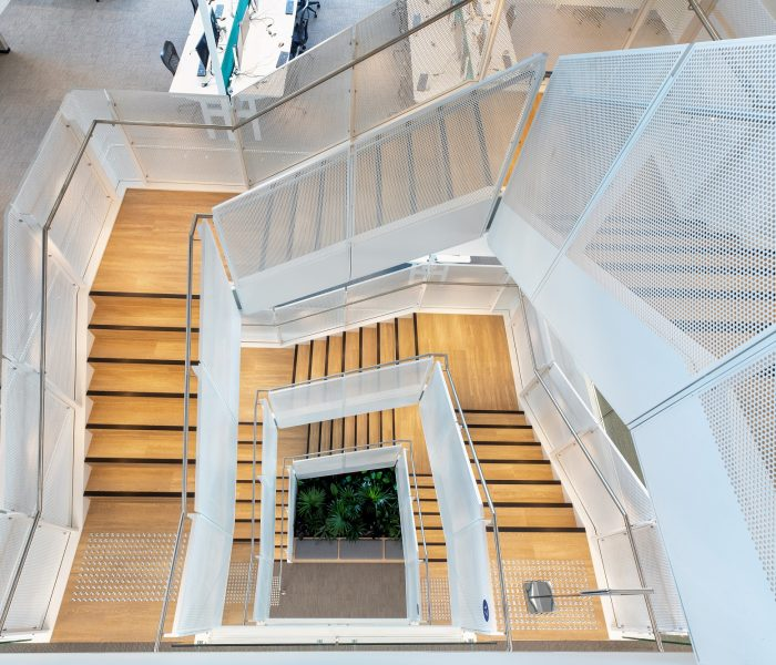Perforated mild steel balustrade: 100 Mount Street, North Sydney