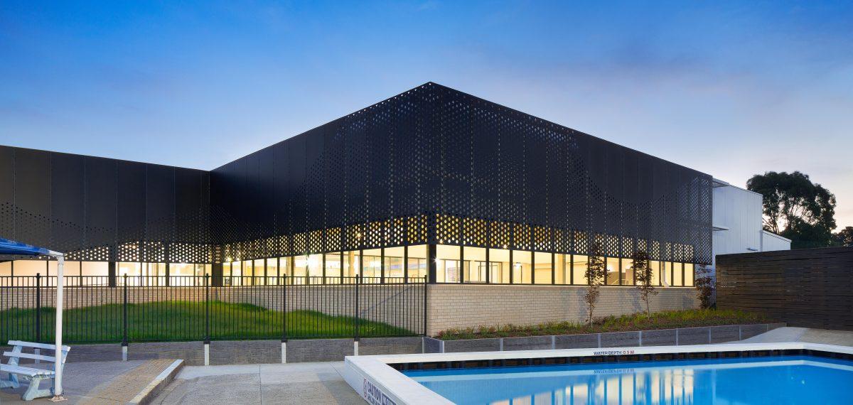 Bespoke perforated metal design by Arrow Metal - Sunburry Aquatic Centre