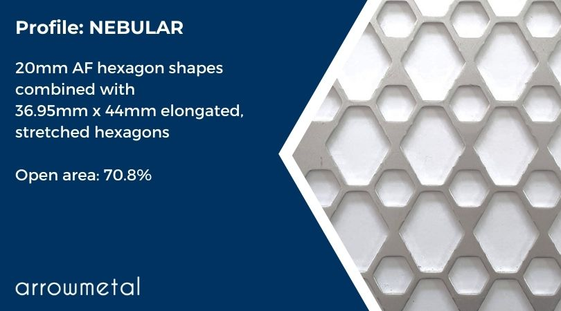 New hexagon perforated metal collection by Arrow Metal - Nebular Pattern