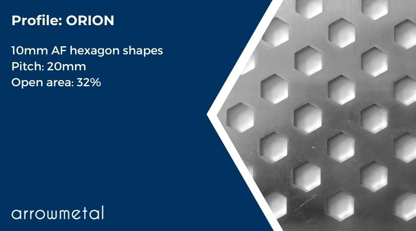 New hexagon perforated metal collection by Arrow Metal - Orion Pattern